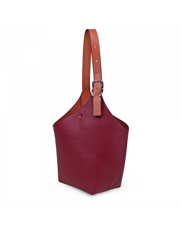 Бордовая большая сумка-торба из экокожи