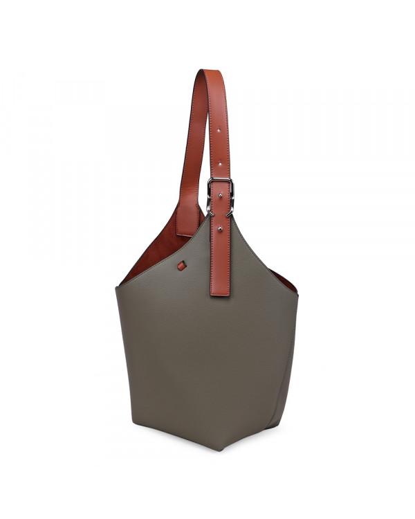 Зеленая большая сумка-торба из экокожи