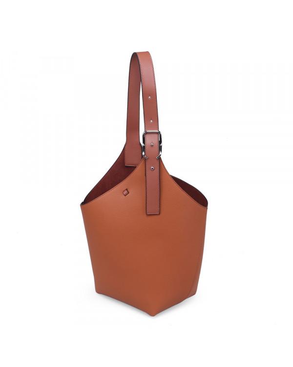 Рыжая большая сумка-торба из экокожи